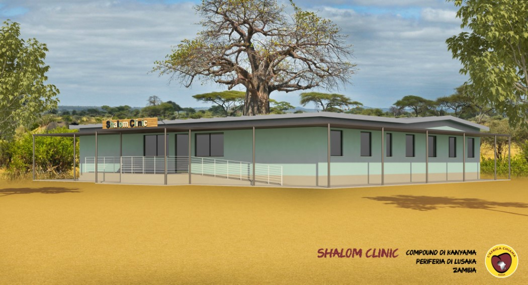 RENDERING DEL CENTRO DI MATERNITA' IN ZAMBIA
