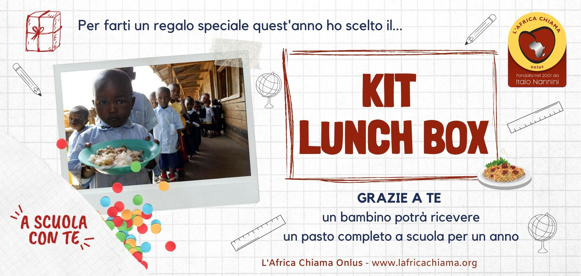 KIT Lunch box per garantire un pasto a scuola ad un bambino per 1 anno
