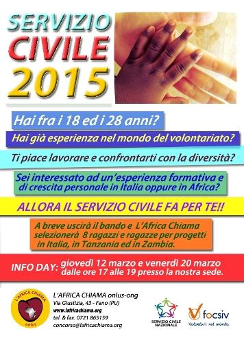 locandina servizio civile 2015 con L'Africa Chiama