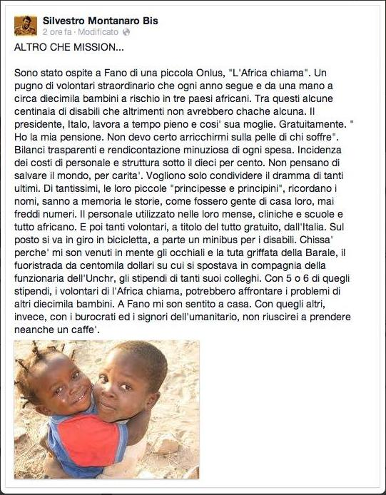 parole su L'Africa Chiama onlus di Silvestro Montanaro